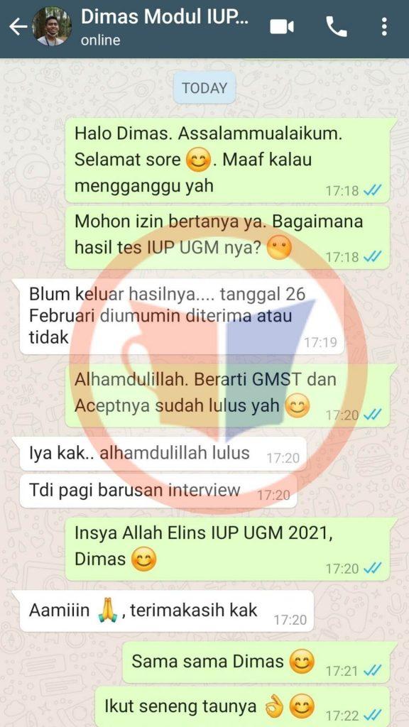 Testimoni IUP UGM Dimas